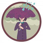 pretty girl in coat under umbrella - stylish vector illustration