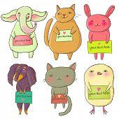 Cartoon animal. Funny vector set
