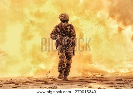 Army Soldier Breaking Through Battlefield