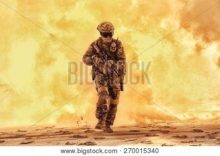 Army Soldier Breaking Through Battlefield