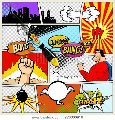 poster of Comics Template. Vector Retro Comic Book Speech Bubbles Illustration. Mock-up Of Comic Book Page Wit