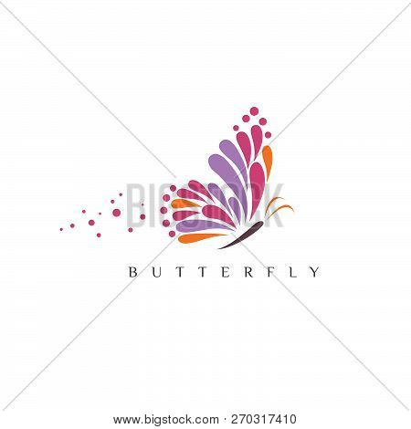 poster of Butterfly. Logo For Beauty Salon With Colorful Butterfly And Text Butterfly. Emblem Template For Bra