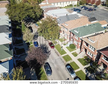 Aerial View Residential Area With