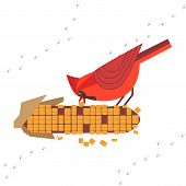 Cute Red Northern Cardinal Bird Feeding By Corn Seeds Poster. Comic Flat Cartoon. Minimalism Simplic poster