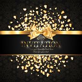 Gorgeous And Shiny Invitation Card Or Banner With Gold Ribbon Bow And Sparkling Golden Hart-shaped G poster