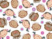 Cartoon Funny Kids Pattern (Vector)