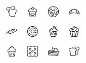 Bakery Line Icon Set. Set Of Line Icons On White Background. Cupcake, Bread, Biscuit, Pie. Confectio poster