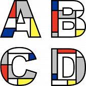 Mondrian Alphabets Abcd (Vector)