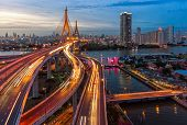 The Bhumibol Bridge (industrial Ring Road Bridge) (bangkok, Thailand) Beautiful View At Twilight, Ba poster