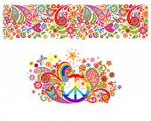 Shirt print with hippie peace symbol with vintage colorful flowers pattern, seamless border and rain poster