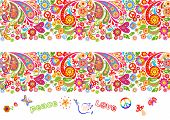 Vivid floral colorful seamless borders with hippie symbol, flower-power, fly agaric, rainbow and pai poster