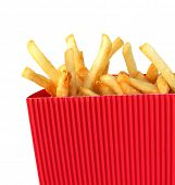 picture of pommes de terre frites  - French fries potatoes in red - JPG