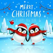 Cute Little Penguins Skate On Frozen River In Christmas Snow Scene. Christmas Cute Animal Cartoon Ch poster