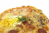 Pizza with salami, egg and cheese