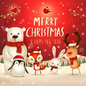 Merry Christmas And Happy New Year! Christmas Cute Animals Character. Happy Christmas Companions. Po poster