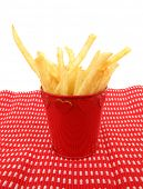 stock photo of pommes de terre frites  - French fries potatoes in red box with hearts - JPG