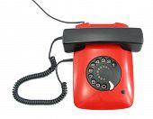 Telephone flat red and black lovely phone with fingerwheel