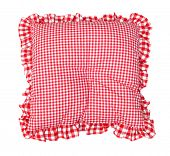Pillow red and white plaid