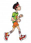 Man is jogging cartoon vector illustration