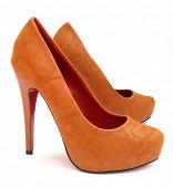 Brown high heels pump shoes