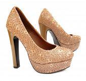 Beige high heels pump shoes