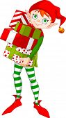 Christmas Elf holding a pile of gifts