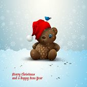 Christmas Teddy Bear Sitting Alone in the Snow | EPS10 Vector | Layers Organized and Named