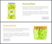 Preserved Food In Jars Web Internet Banners Set. Spicy Olives And Lime Slices Canned Product Online  poster