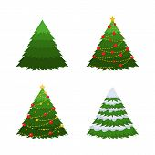 Set Of 4 Firs. A Green Fir, A Fir In Snow, A Christmas-tree With Decorations. poster