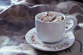 White Cup Of Hot Chocolate With Marshmallows Floating With Rays Of Light. Toned In Cool Tones. Cup S poster