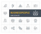 Businesspeople Line Icon Set. Meeting, Workplace, Key Solution. Business Concept. Can Be Used For To poster