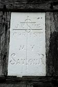 Religious Carving Saying: Jesus Christ My Saviour