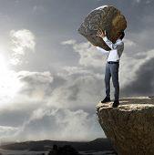 Rock throw down a cliff