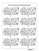 Iq Training Visual Logic Puzzle And Coloring Page With Year 2019 Headings. Winter Holidays, Christma poster