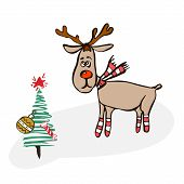 Merry Christmas Greeting Card With Deer And Christmas Tree With Toys. Creative Hand Drawn Card For W poster