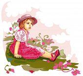 little girl sitting on flower meadow
