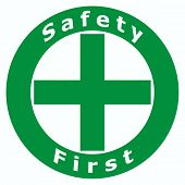 2D Safety First Sign using in Factory and Construction