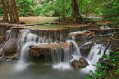 Huay Mae Khamin Waterfall Sixth Level, Paradise waterfall in Tropical rain forest of Thailand