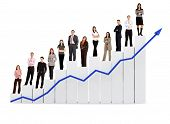stock photo of business success  - group of business people with a chart representing growth and success  - JPG