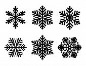 Set Of Black Snowflakes. Snowflakes Vector Icons, Snowflakes Icon, Snowflakes Collection, Set Snowfl poster