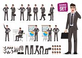 Male Business Characters Vector Set. Cartoon Character Creation Of Business Man Holding Mobile Phone poster
