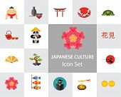 Japanese Culture Icon Set. Koi Fish Japanese Panda Bonsai Tree Japanese Tea Set Fan Koinobori Flag N poster