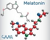 Melatonin Molecule, Hormone That Regulates Sleep And Wakefulness. Structural Chemical Formula And Mo poster