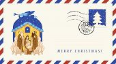 Vector Envelope On The Theme Of Christmas And New Year With Postage Stamp And Postmark. Bible Illust poster
