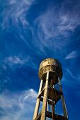 Water tower and blue sky.