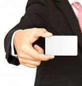 pic of senior men  - Business man with empty card in hand - JPG