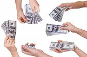 stock photo of save money  - Collection of Hands holding dollars isolated on white background - JPG