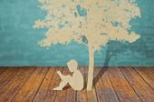 image of reading book  - Paper cut of children read a book under tree - JPG