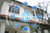 Property Investment Icons Over The Network Connection On Property Background, Property Investment Co poster