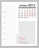 Simple 2012 calendar, October.  All elements are layered separately in vector file. Easy editable.